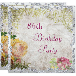 "Elegant Shabby Chic Roses & Diamonds 85th Birthday 5.25"" Square Invitation Card"