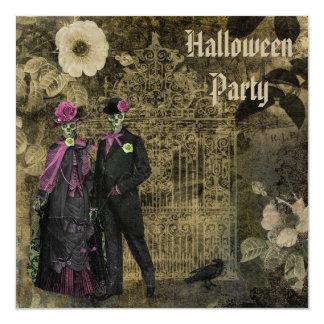 Elegant Shabby Chic Skeletons Halloween Party Card