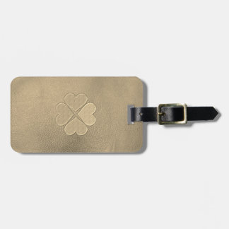 Elegant  Shamrock St.Patrick`s Day, Leather Luggage Tag