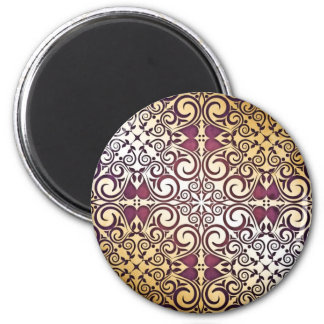 Elegant Shimmer Shine Damask Golden Purple Swirls 2 Inch Round Magnet