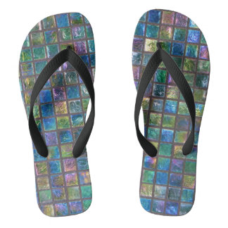 Elegant Shiny Aqua Glass Tiles Flip Flops