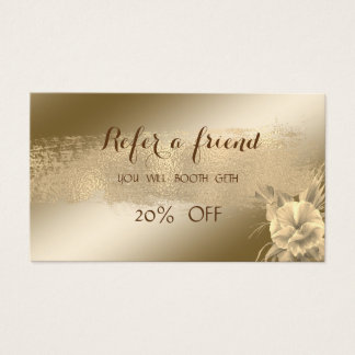 Elegant ,Shiny,Flower,Brush Stroke   Referral Card