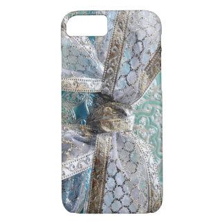 Elegant Shiny Silver Turquoise Lace Ribbon iPhone 7 Case