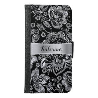 Elegant Shiny Silver Vintage Floral Damasks Samsung Galaxy S6 Wallet Case