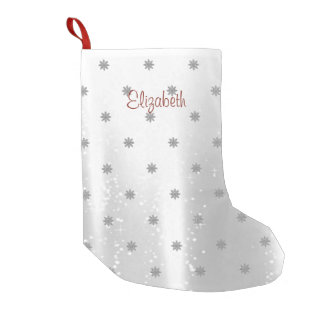 Elegant Shiny Snowflakes-Personalized Small Christmas Stocking