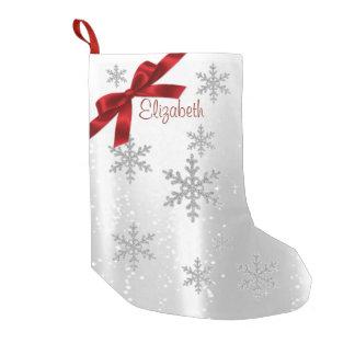 Elegant Shiny Snowflakes,Red Bow-Personalized Small Christmas Stocking