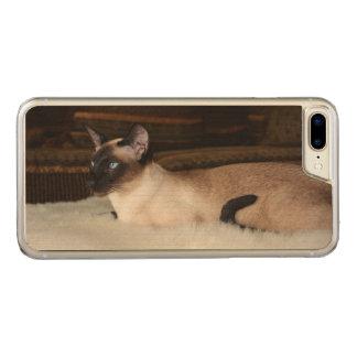 Elegant Siamese Cat Carved iPhone 7 Plus Case