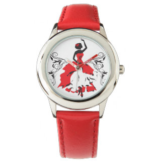 Elegant silhouette woman in dance Floral ornament Watch