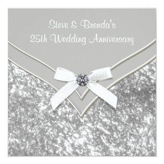 Elegant Silver 25th Wedding Anniversary Party Custom Announcement