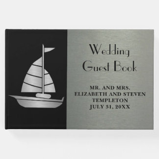 Elegant Silver and Black Nautical Yacht Guestbook
