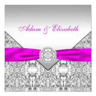 Elegant Silver and Fuchsia Wedding Invitations