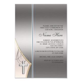 "Elegant Silver and Gold First Communion Invitation 3.5"" X 5"" Invitation Card"