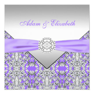 Elegant Silver and Lavender Purple Lace Wedding Card