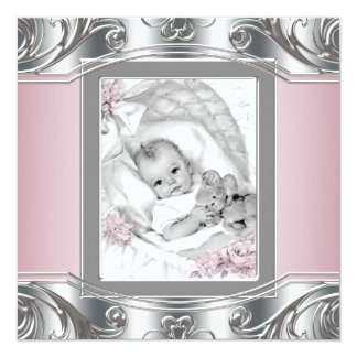 Elegant Silver and Pink Baby Girl Shower 5.25x5.25 Square Paper Invitation Card