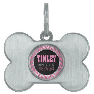 Elegant Silver and Pink Herringbone | DIY Name Pet ID Tag