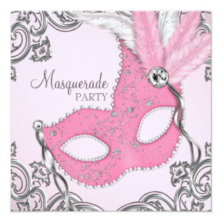 Elegant Silver and Pink Masquerade Party Card
