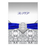 Elegant Silver and Royal Blue Wedding RSVP Invitation