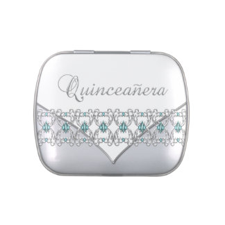 Elegant Silver and Teal Blue Quinceanera Candy