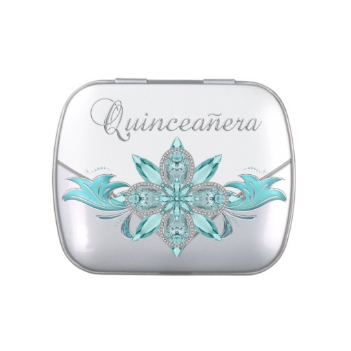 Elegant Silver and Teal Blue Quinceanera Candy Jelly Belly Candy Tins