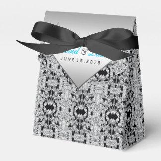 Elegant Silver and Teal Blue Wedding Wedding Favor Box