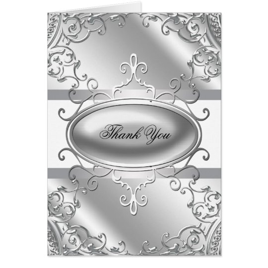 Elegant Silver and White Thank You Cards
