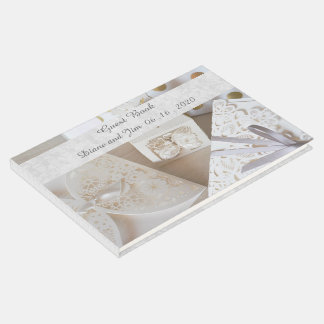 Elegant Silver and White Wedding Guest Book