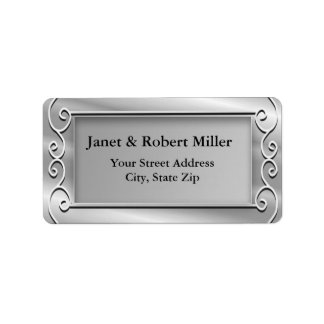 Elegant Silver Background Address Labels