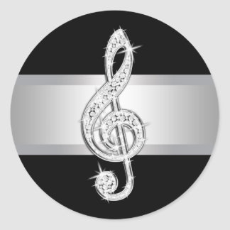 Elegant Silver Black Treble Clef Stickers