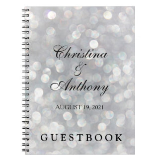 Elegant Silver Bokeh Custom Wedding Guest Book Spiral Note Book