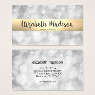 Elegant Silver Bokeh Script Business Card