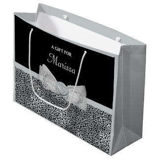 Elegant Silver Cheetah Print Frilly Bow With Name Large Gift Bag