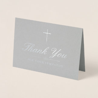 Elegant Silver Cross Sympathy Thank You Foil Card