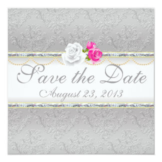 """Elegant Silver Damask and Pink Rose Save the Date 5.25"""" Square Invitation Card"""