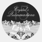 Elegant Silver Damask & Bow Quinceanera Sticker