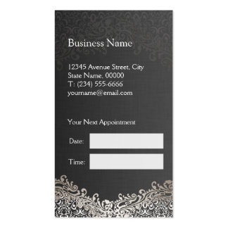 Elegant Silver Damask - Hair Stylist Appointment Pack Of Standard Business Cards