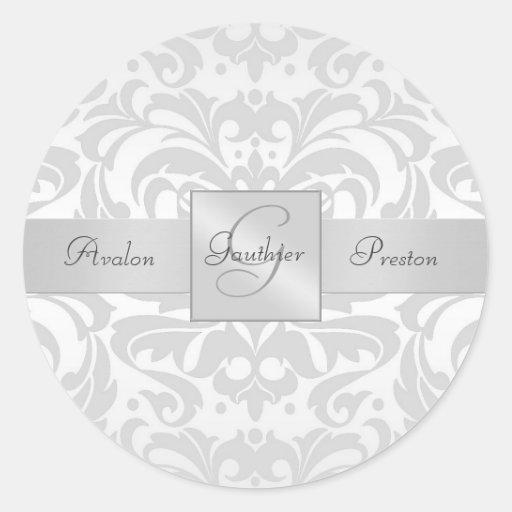 Elegant Silver Damask Monogram Wedding Sticker