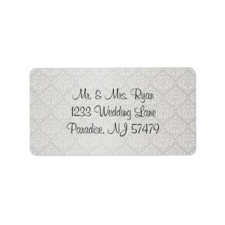 Elegant Silver Damask Style Wedding 1 Label