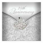 Elegant Silver Damask White Swan 25th Anniversary
