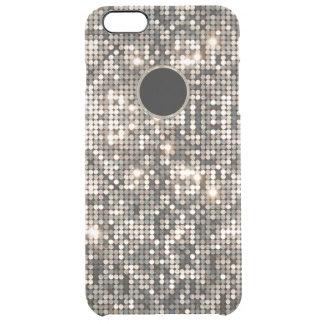 Elegant Silver Disco Glitter &  Background Clear iPhone 6 Plus Case