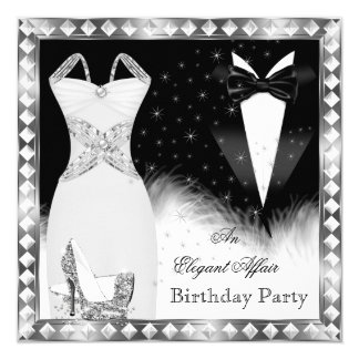 "Elegant Silver Dress Black Tie Birthday Party 5.25"" Square Invitation Card"