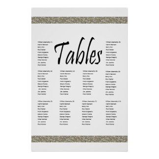 Elegant Silver Faux Glitter 10 Table Seating Chart Poster