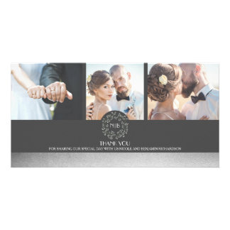 Elegant Silver Floral Photo Wedding Thank You Photo Cards
