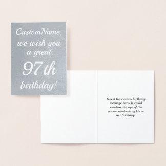 Elegant Silver Foil 97th Birthday Greeting Card