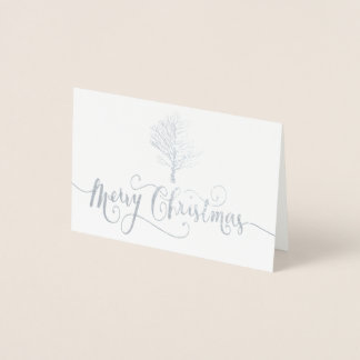 Elegant Silver Foil Christmas Script Card