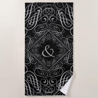 Elegant Silver Foil Look Filigree Scrollwork Black Beach Towel