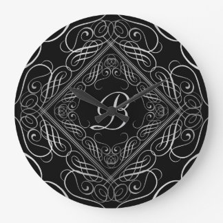Elegant Silver Foil Look Filigree Scrollwork Black Large Clock