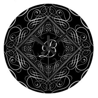 Elegant Silver Foil Look Filigree Scrollwork Black Wallclock