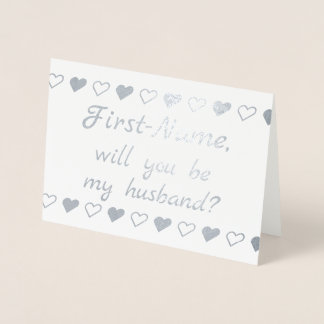 Elegant Silver Foil Proposal Card