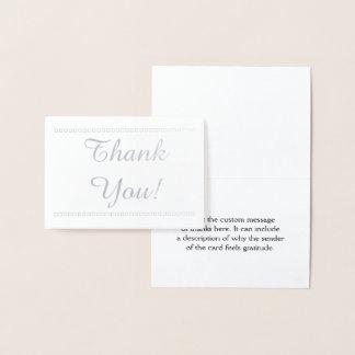 "Elegant Silver Foil ""Thank You!"" Card"