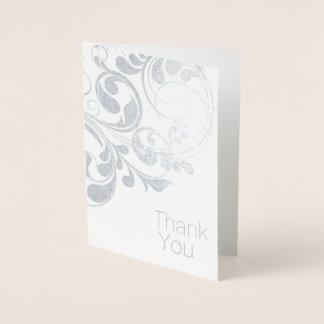 Elegant Silver Foil Thank You Card